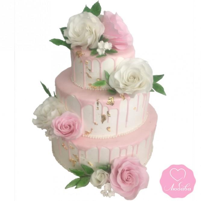 Торт свадебный розовый №2871