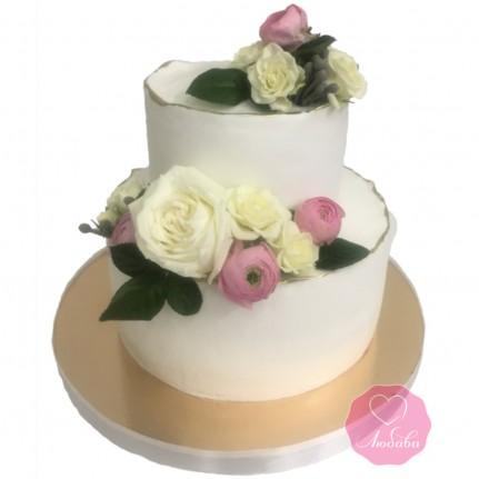 Торт с живыми цветами №2892