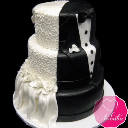 Торт свадебный платье и фрак №737